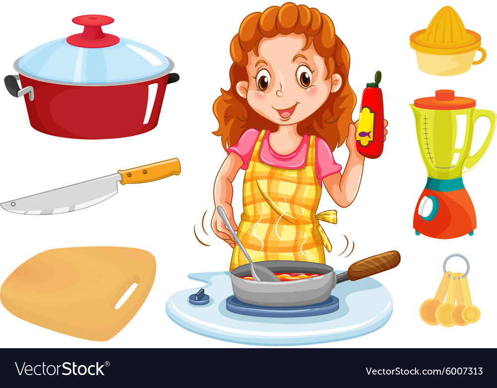 Girl cooking clipart clip free stock Woman cooking and kitchenwares clip free stock