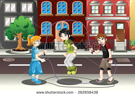 Girl double dutching clipart image royalty free Kids Jumping Rope Stock Images, Royalty-Free Images & Vectors ... image royalty free