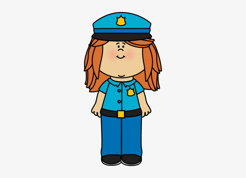 Girl dressed up as a police officer clipart