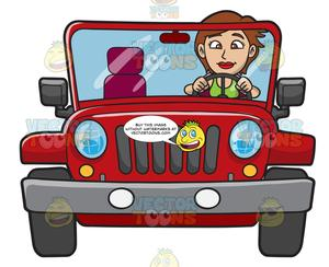 Girl driving jeep with dog clipart clip royalty free download A Woman Driving A Rugged Red Jeep clip royalty free download