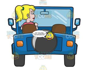 Girl driving jeep with dog clipart svg black and white A Woman Driving A Blue Jeep svg black and white