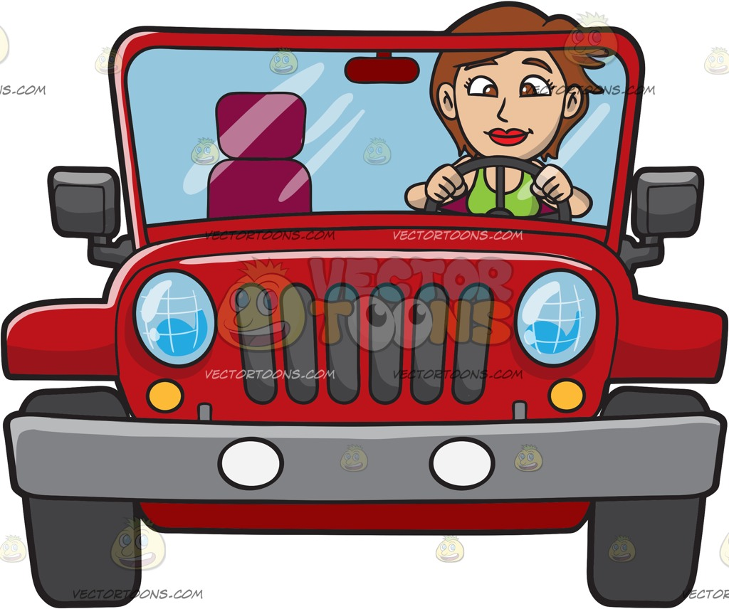 Girl driving jeep with dog clipart vector transparent A woman driving a rugged red jeep » Clipart Station vector transparent
