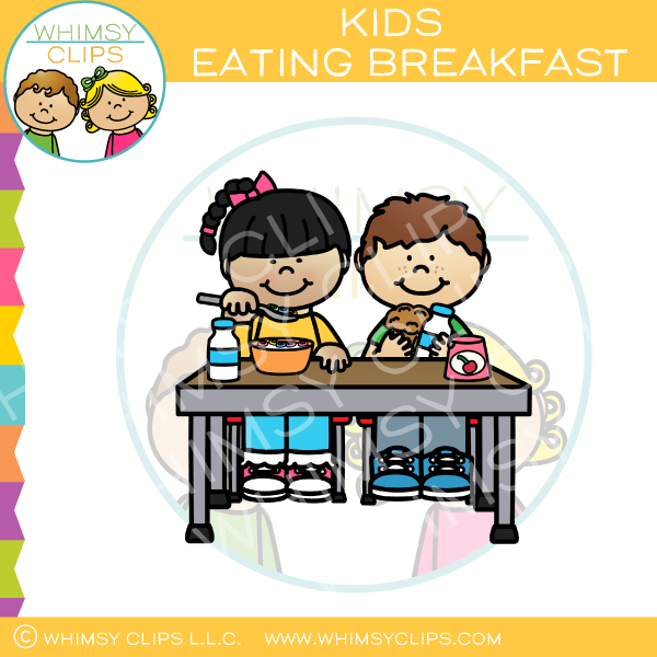 Girl eating breakfast cliparts royalty free Kids Eating Breakfast Clip Art royalty free