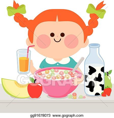 Girl eating breakfast cliparts clip transparent Vector Stock - Girl eating breakfast. Stock Clip Art gg91678073 ... clip transparent