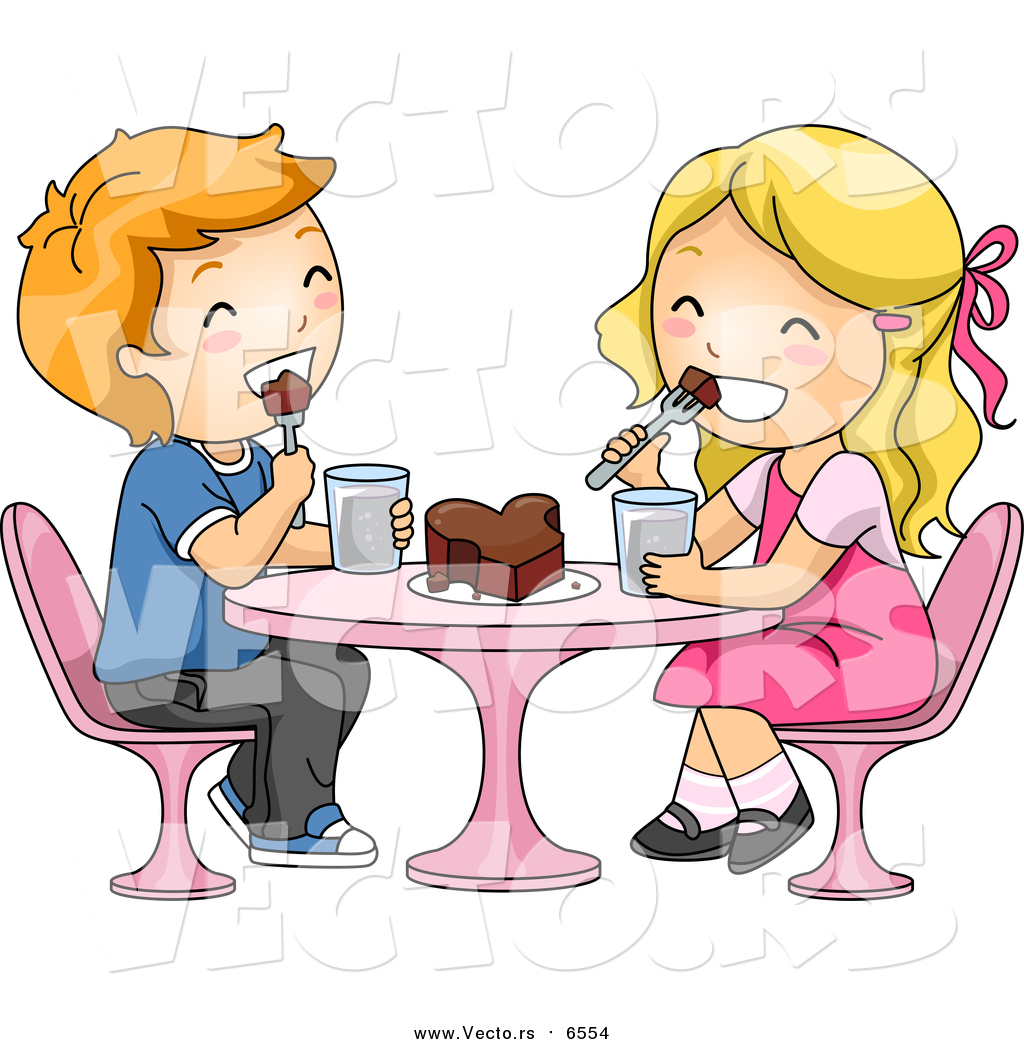 Girl eating chocolate clipart