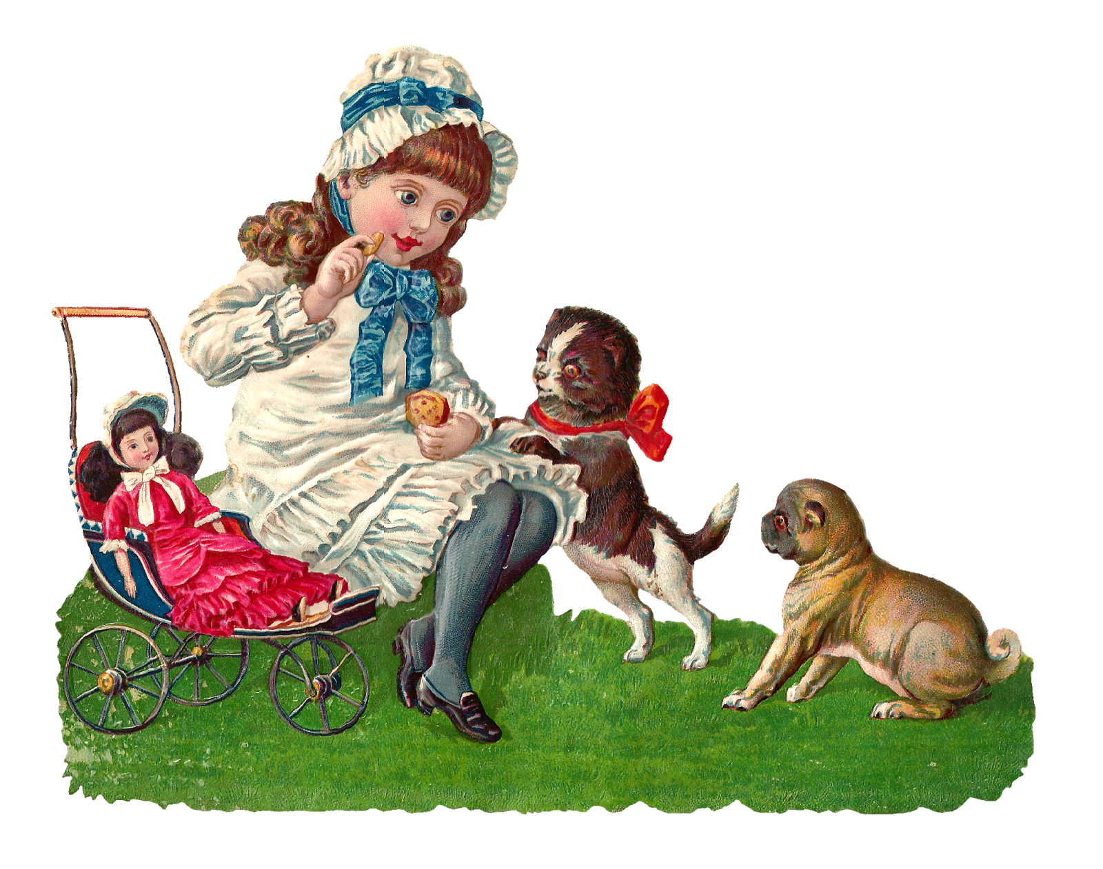 Girl feeding dog clipart banner freeuse download Antique Images: Girl Playing with Dogs and Doll Digital Clip Art banner freeuse download