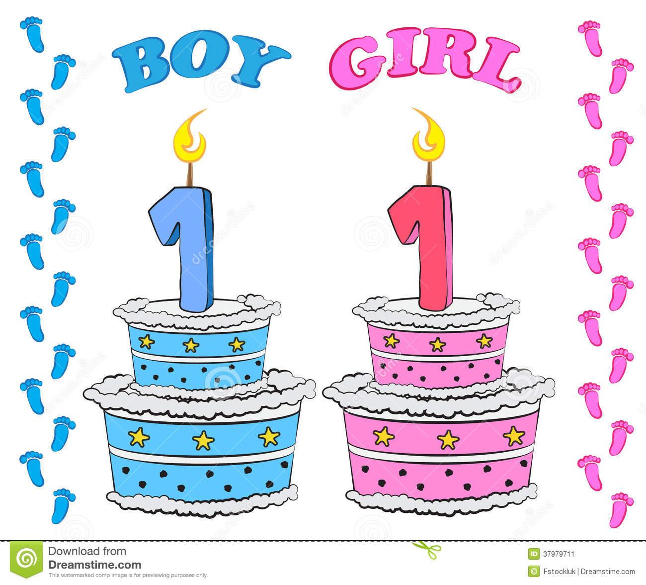 Girl first birthday cake clipart jpg stock First Birthday Cake For Boy And Girl Stock Image - Image: 37979711 jpg stock