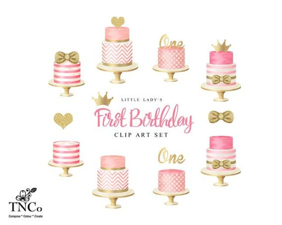 Girl first birthday cake clipart graphic freeuse Cake clip art - Girl's first birthday clip art - Tiered cakes ... graphic freeuse