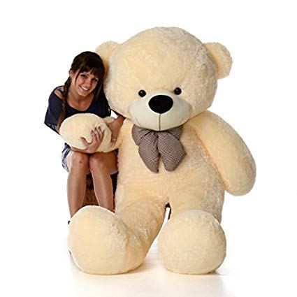 Girl friends playing with stuffed animals clipart picture freeuse library 6 Foot Life-Size Teddy Bear Cream Vanilla Color Smiling Face Giant Stuffed  Animal Cozy Cuddles picture freeuse library
