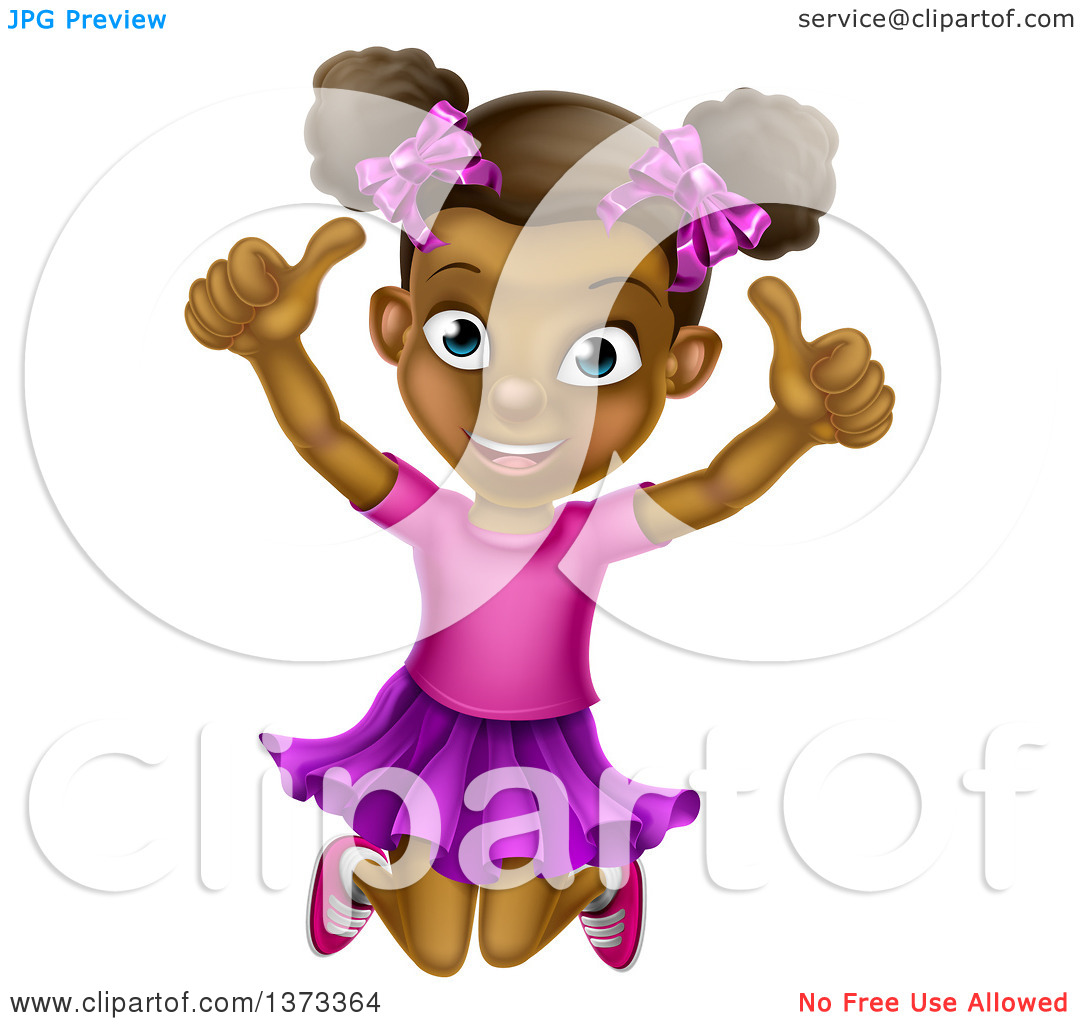 Girl giving thumbs up clipart image royalty free download Clipart of a Cartoon Happy Excited Black Girl Jumping and Giving ... image royalty free download