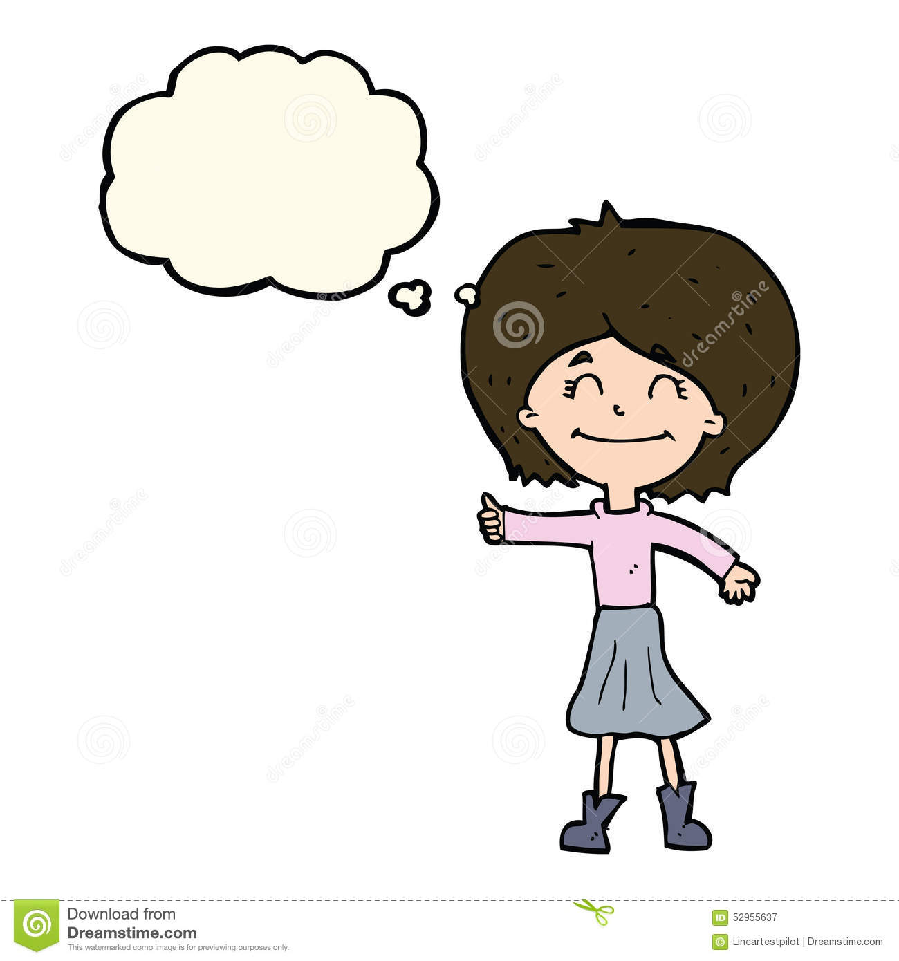 Girl giving thumbs up clipart graphic stock Cartoon Happy Girl Giving Thumbs Up Symbol With Thought Bubble ... graphic stock