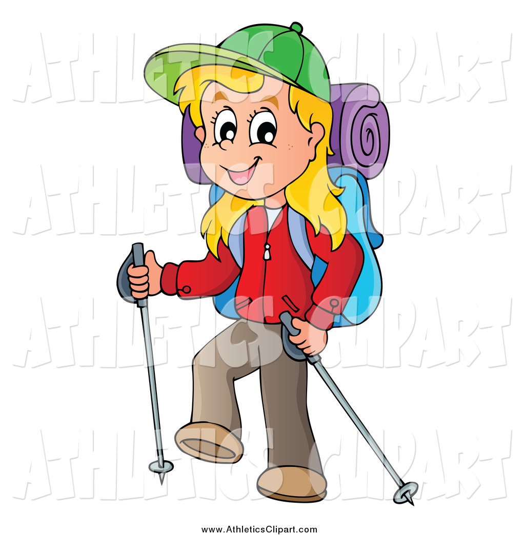 Girl hiking clipart banner freeuse library Clip Art of a Happy Blond White Girl Hiking with Trekking Poles by ... banner freeuse library