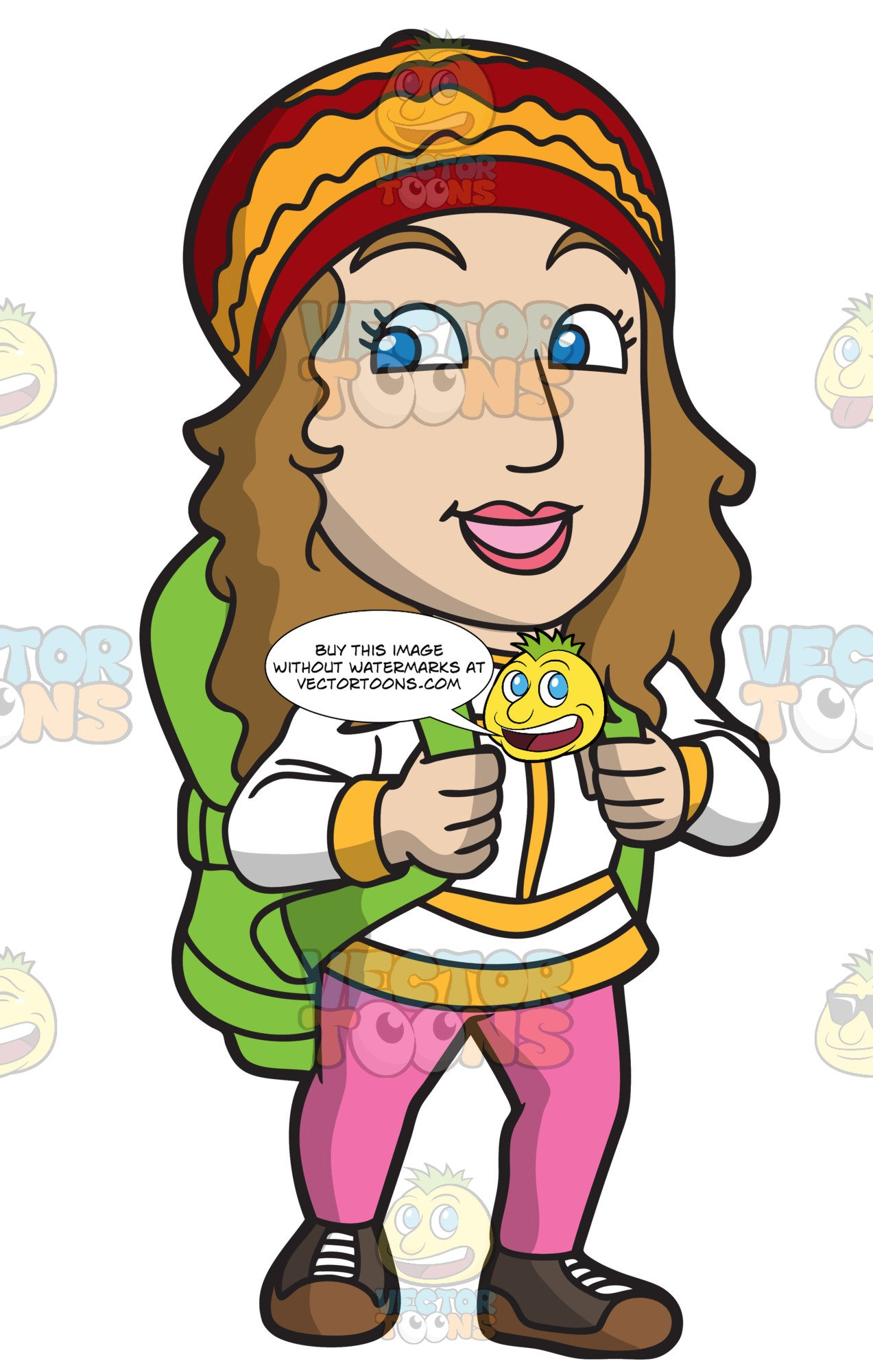 Girl hiking clipart clipart transparent A Happy Woman Gets Ready To Hike clipart transparent