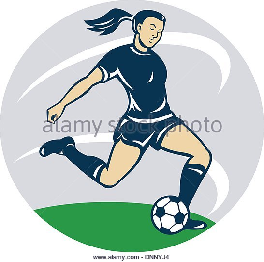 Girl hitting soccer ball clipart graphic transparent library Cartoon Female Soccer Player Kicking Stock Photos & Cartoon Female ... graphic transparent library