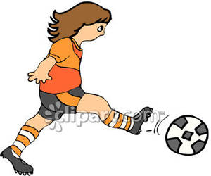 Girl hitting soccer ball clipart picture free stock Girl Kicking a Soccer Ball Royalty Free Clipart Picture picture free stock