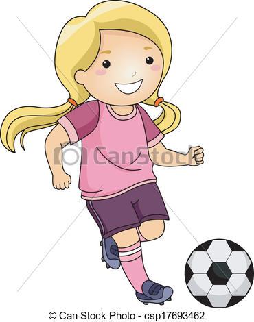 Girl hitting soccer ball clipart clipart library library Clip Art Vector of Soccer Girl - Illustration of a Little Girl ... clipart library library