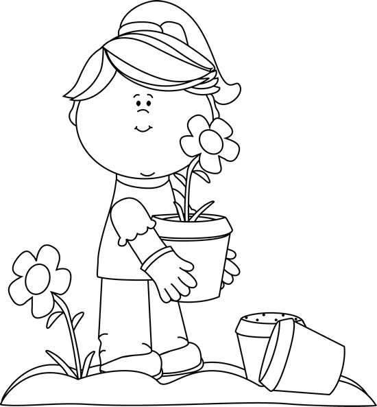 Girl holding flowers clipart black and white jpg stock clip art black and white | Black and White Girl Planting Flowers ... jpg stock