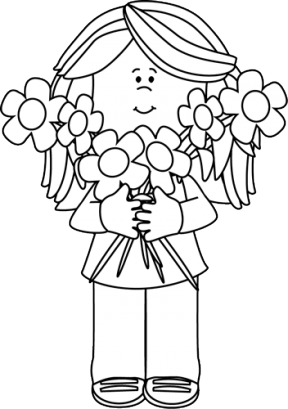 Girl holding flowers clipart black and white clip art transparent library Free Flower Girls Cliparts, Download Free Clip Art, Free Clip Art on ... clip art transparent library