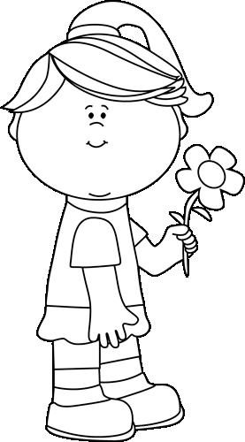 Girl holding flowers clipart black and white svg transparent Flower Clip Art - Flower Images svg transparent