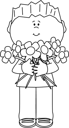 Girl holding flowers clipart black and white graphic freeuse download Flower Clip Art - Flower Images graphic freeuse download