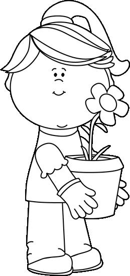 Girl holding flowers clipart black and white transparent download Black and White Girl Holding a Flower Pot Clip Art Black – Homes Tips transparent download