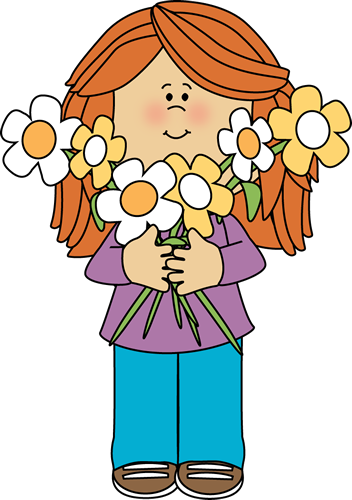 Girl holding phone clipart banner library Girl Holding a Bunch of Flowers   Printable Magnets or Scrap Book ... banner library