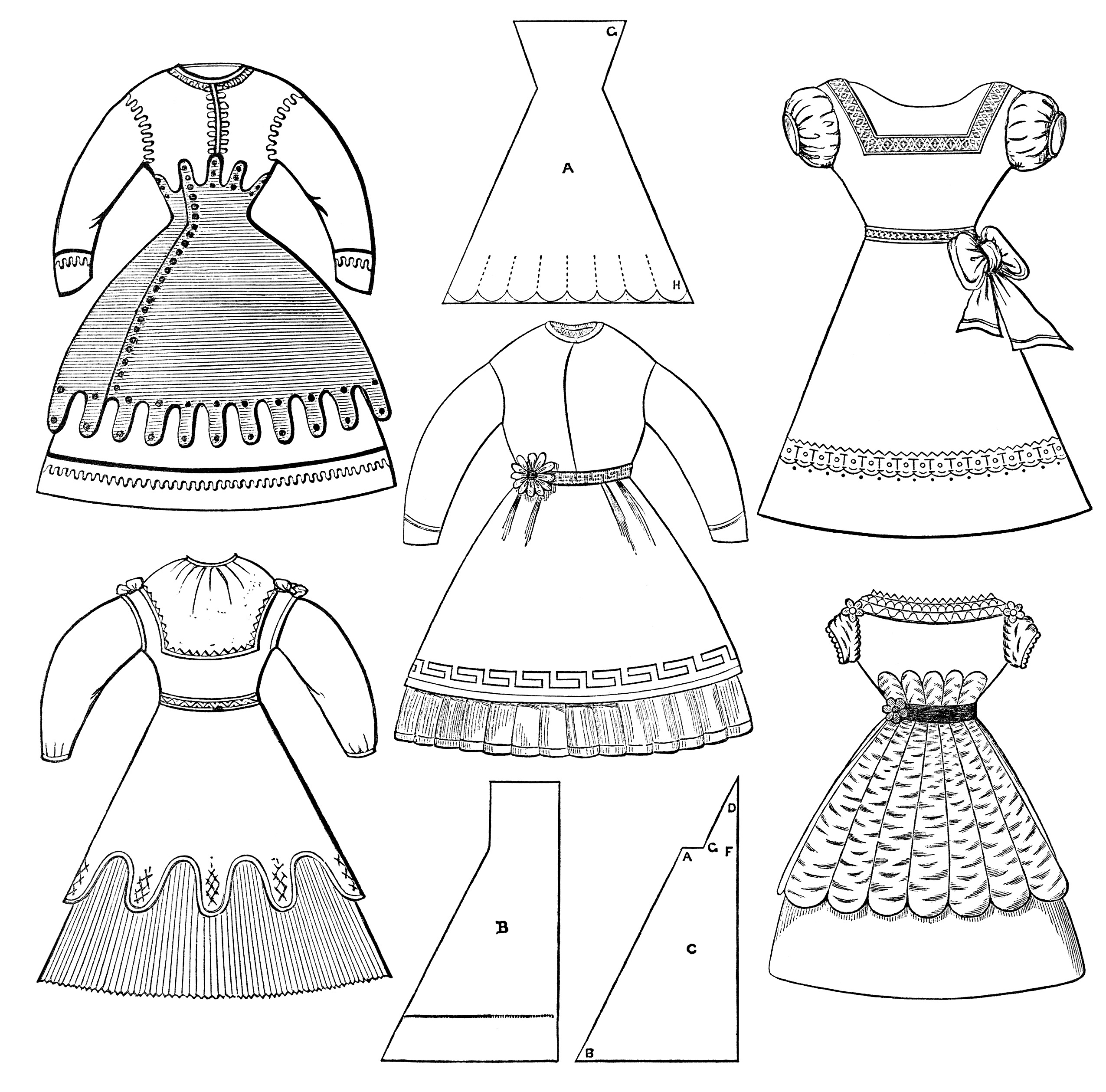 Simple black and white girls clothing clipart svg freeuse download Victorian Girls Dresses ~ Free Clip Art - Old Design Shop Blog svg freeuse download