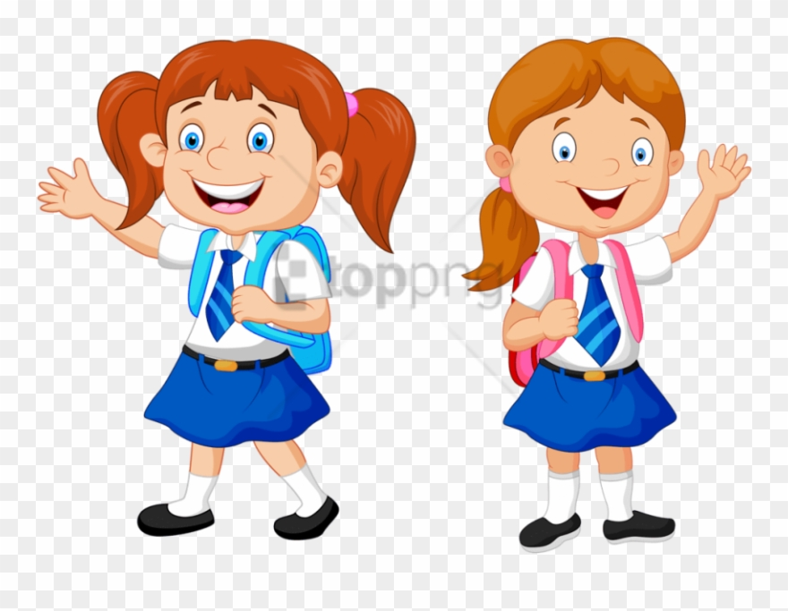 Girl in school clipart svg free library Free Png Download School Kids Clip Art Png Png Images - Girls In ... svg free library