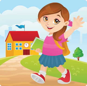 Girl in school clipart svg royalty free library Friendly Girl Going To School | Clipart | PBS LearningMedia svg royalty free library
