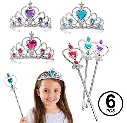 Girl jewel tiarra chain clipart vector black and white download Funny Party Hats Princess Accessories - Princess Wand and Tiara - 6 Pc  Princess Party Tiaras and Wands vector black and white download