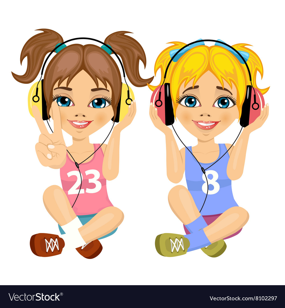 Girl listening to music clipart picture royalty free library Teenager girls listening music with headphones picture royalty free library