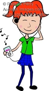 Girl listening to music clipart clipart black and white stock Girl listening to music clipart » Clipart Portal clipart black and white stock