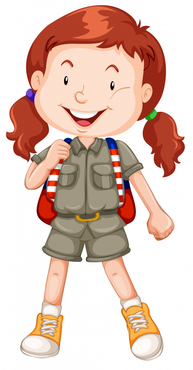 Girl looking through binoculars girl scouts clipart jpg black and white download A red haired girl scout character Vector | Free Download jpg black and white download