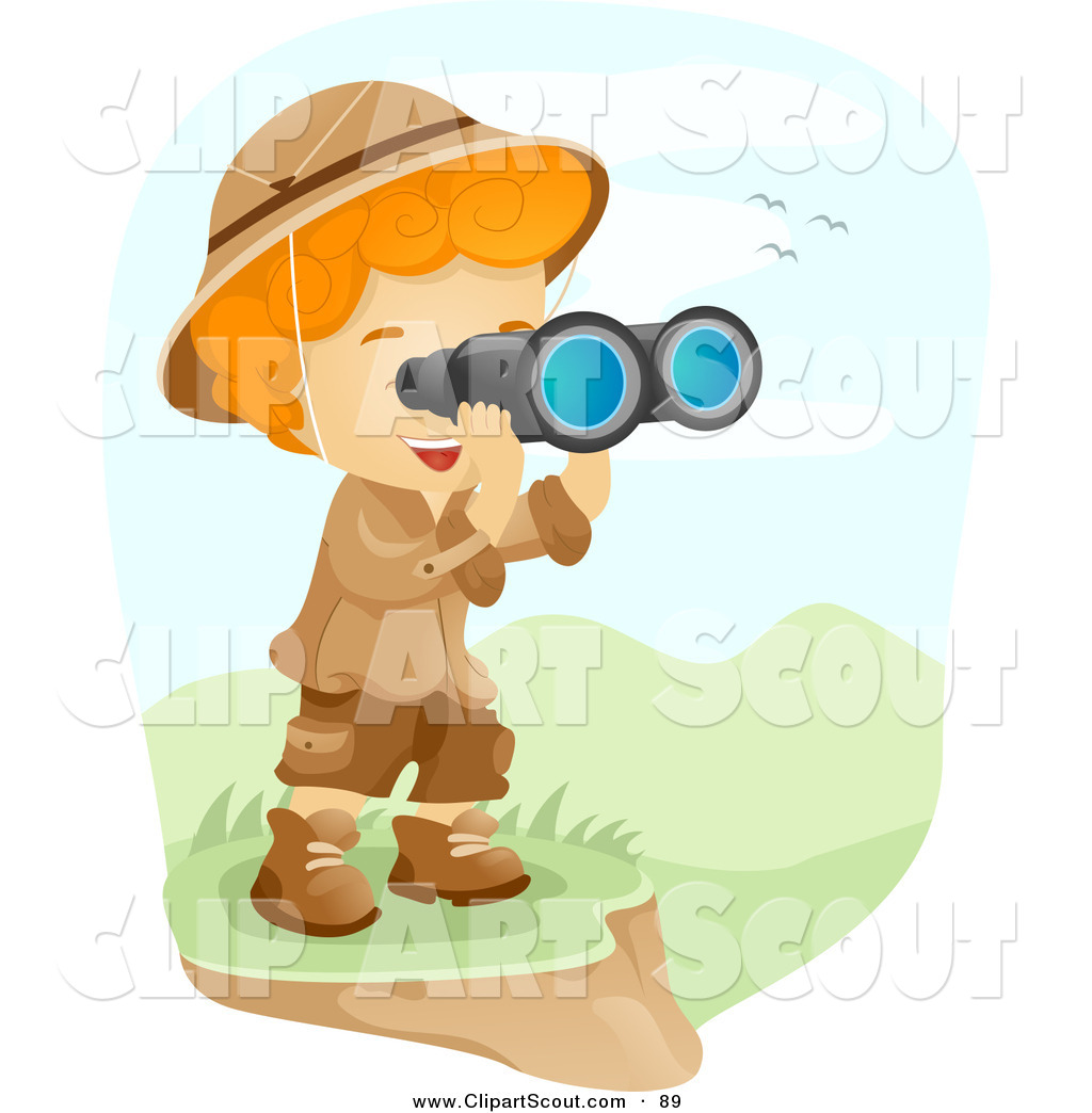 Girl looking through binoculars girl scouts clipart jpg royalty free Clipart of a Scout Boy Viewing a Valley Through Binoculars by BNP ... jpg royalty free