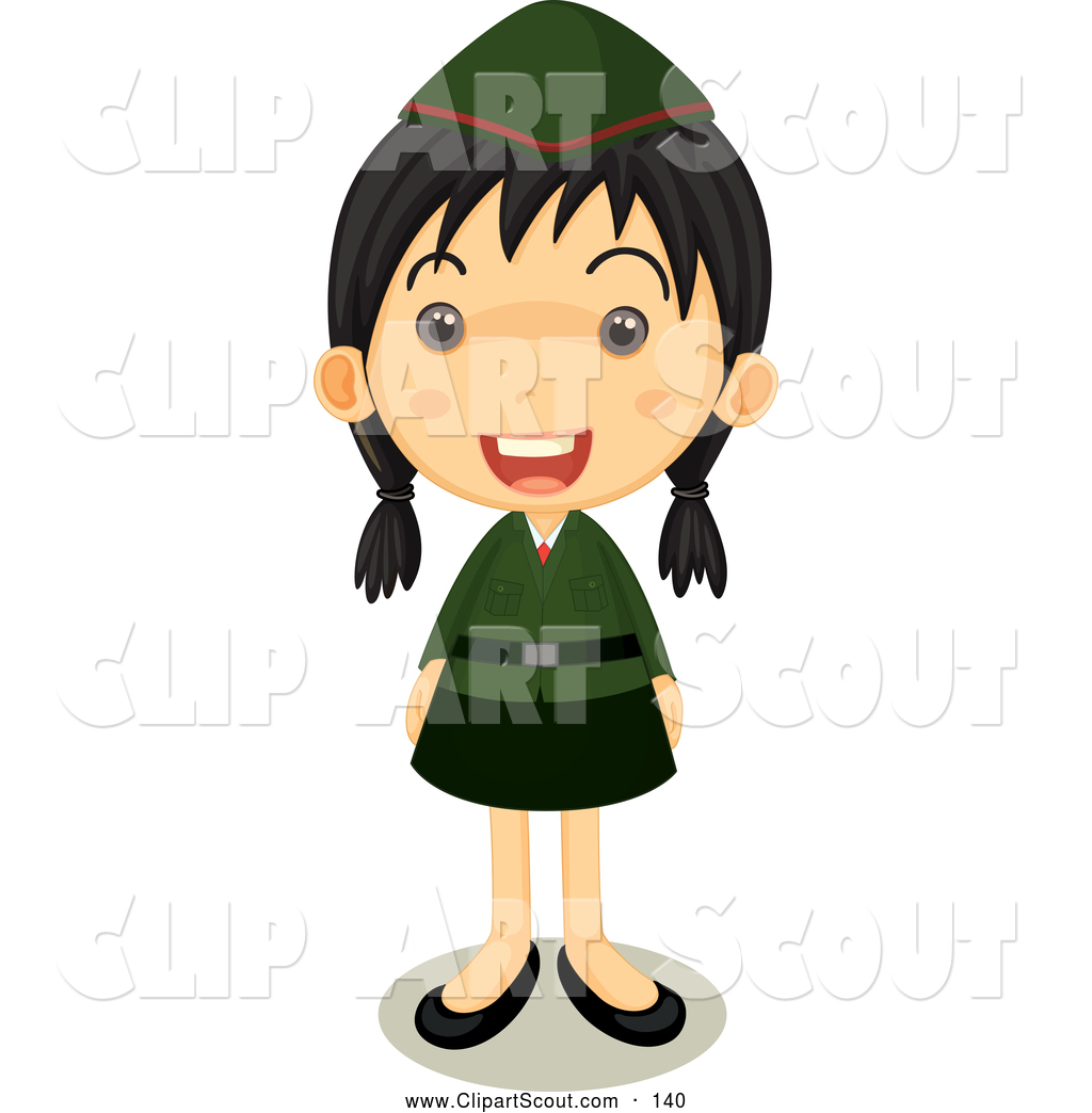 Girl looking through binoculars girl scouts clipart banner library Clipart of a Happy Girl Scout in Uniform Standing Proud by Graphics ... banner library
