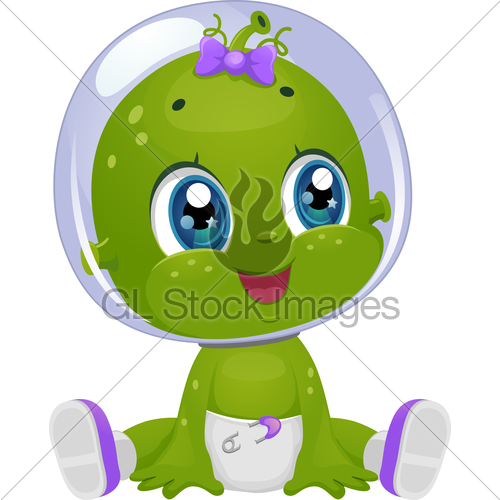 Girl looking to the right clipart banner Alien Baby Girl Look Right · GL Stock Images banner