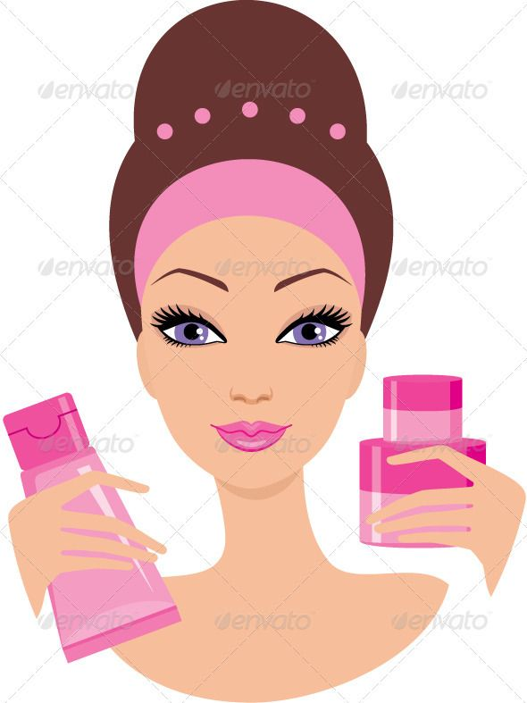Skin wrinkles clipart png library Beautiful young woman with a cosmetics set | Косметолог in 2019 ... png library