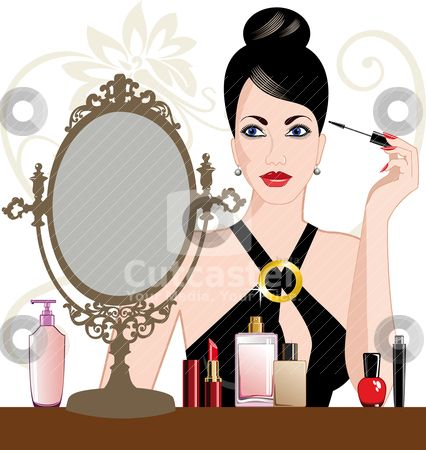 Girl make up clipart svg black and white library clipart of a lady putting makeu on | Glamour woman applying makeup ... svg black and white library