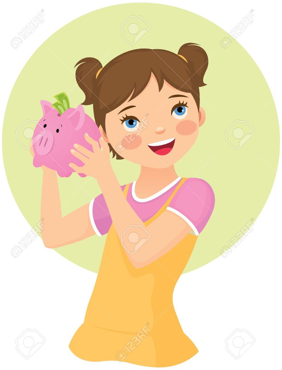 Girl piggy bank clipart