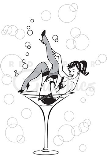 Girl pinup black and white clipart free image free library This Martini Girl clipart vintage style black and white sketch shows ... image free library