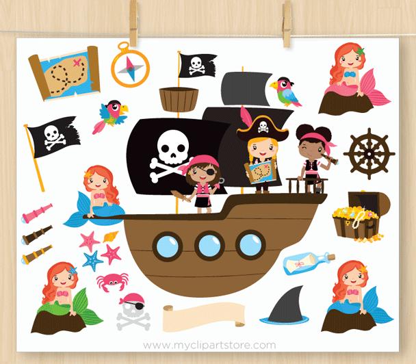 Girl pirate clipart jpg black and white library Girl Pirates Clipart jpg black and white library