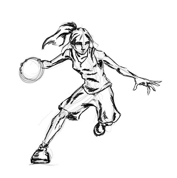 Girl playing basketball in regular clothes clipart
