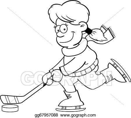 Girl playing hockey clipart picture transparent download Vector Art - Cartoon girl playing ice hockey (bl. EPS clipart ... picture transparent download