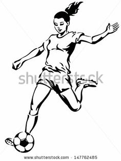 Girl playing socer clipart black and whit royalty free download Soccer Clipart Black And White | Free download best Soccer Clipart ... royalty free download