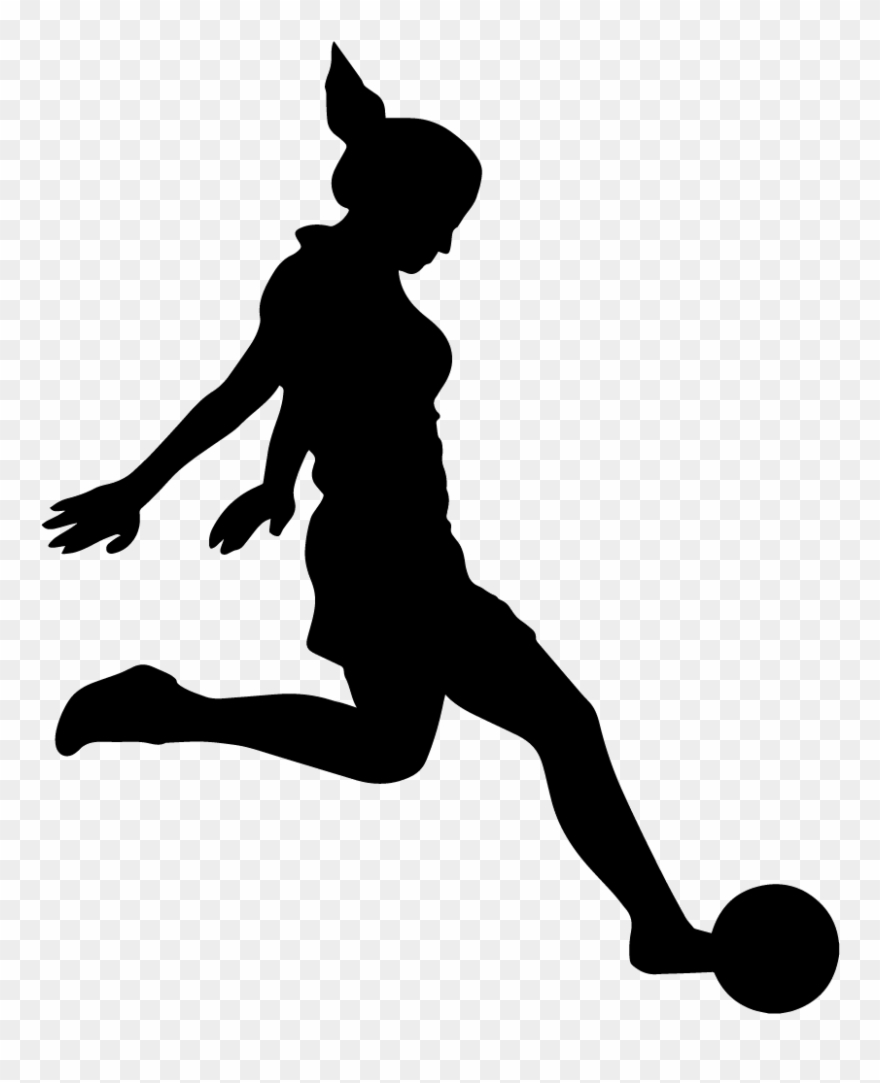 Girl playing socer clipart black and whit banner royalty free library Soccer - Girl Footballer Wall Art Sticker Decal, Black, Size Clipart ... banner royalty free library