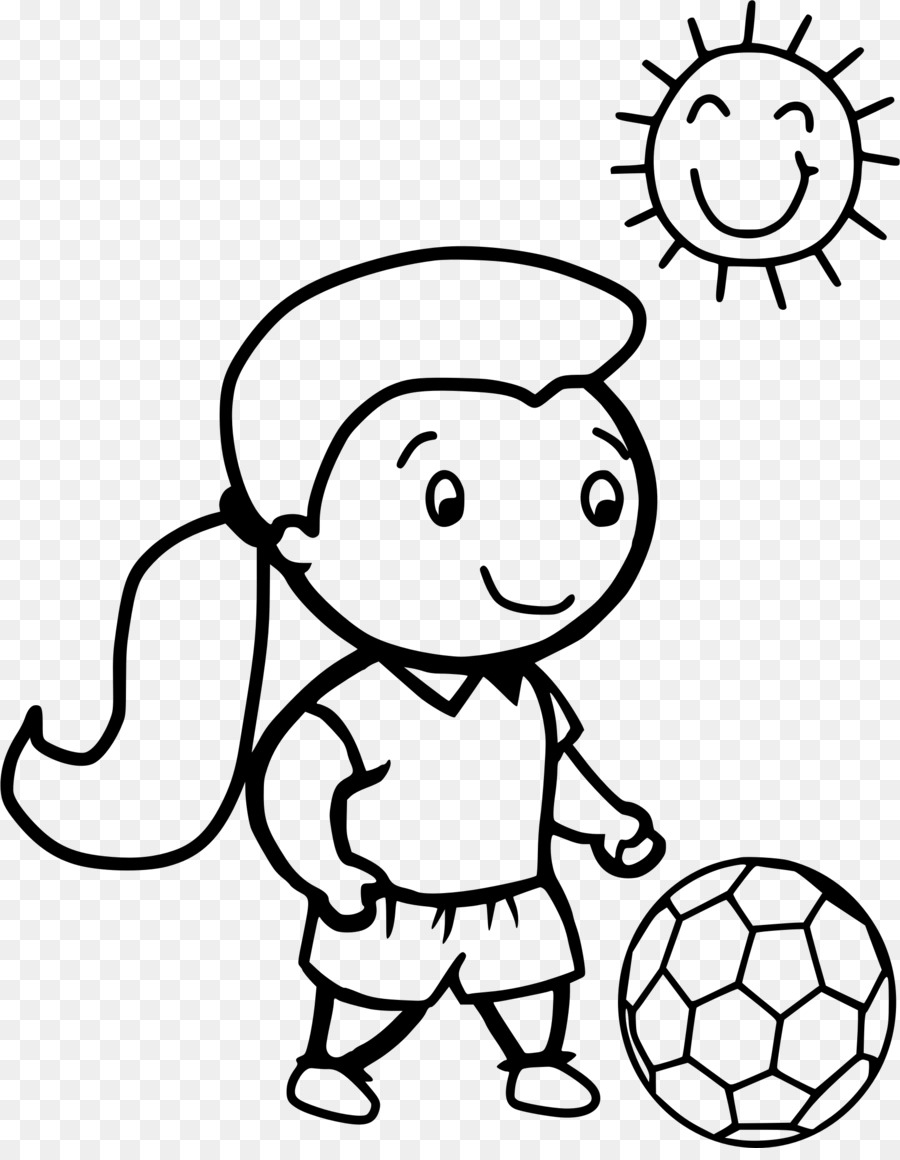 Girl playing socer clipart black and whit graphic free library Football Player clipart - White, Black, Nose, transparent clip art graphic free library