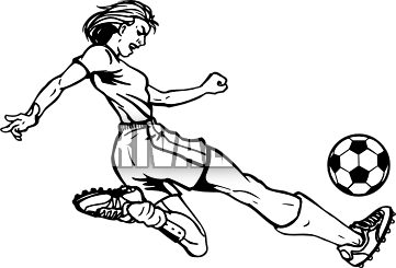 Girl playing socer clipart black and whit banner library Girl kicking soccer ball clip art clipart images gallery for free ... banner library