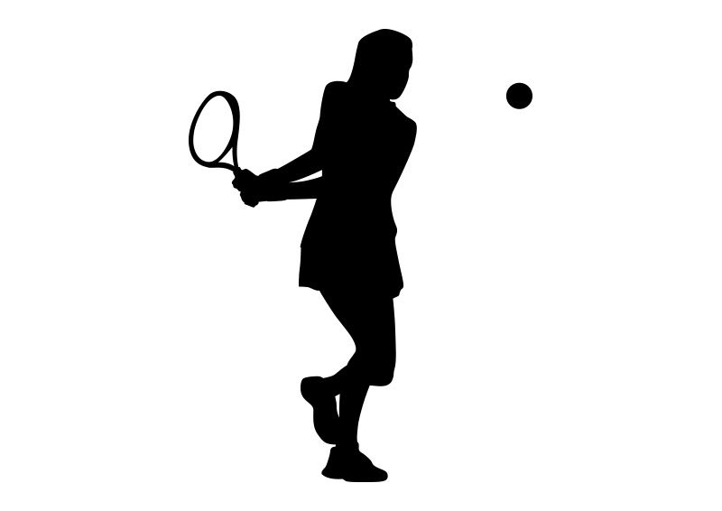 Girl playing tennis clipart black and white graphic transparent stock Girl Playing Tennis Black Silhouette On White Background | vector ... graphic transparent stock