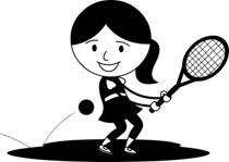 Girl playing tennis clipart black and white png black and white download Free Black and White Sports Outline Clipart - Clip Art Pictures ... png black and white download