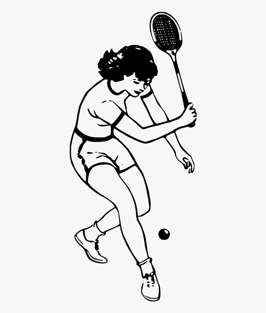 Tennis player clipart black and white png royalty free download Tennis Player Girl - People Playing Badminton Drawing #1787295 ... png royalty free download